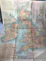 Image for NEW & COMMERCIAL REFERENCE CHART OF THE BRITISH ISLES Showing Railways, Steamship Routes, Ports, Rivers, Canals, Main Roads, & Rainfall