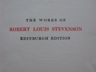 Image for THE WORKS OF ROBERT LOUIS STEVENSON Edinburgh edition