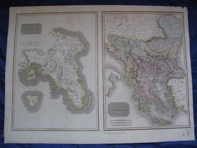 Image for Map of ATTICA (Greece) - TURKISH DOMINIONS in EUROPE- 2 maps on one sheet,